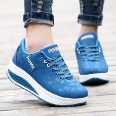 Jual Cepat Korea Fashion Style Pijakan Empuk Sol Tebal Sepatu Sol Tebal Peninggi Sepatu Sepatu Travel 836 Kulit Biru Untuk Mengirim Kaus Kaki