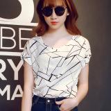 Harga Kaos Oblong Wanita Lengan Pendek Longgar Versi Korea Putih Dengan Garis Putih Dengan Garis Di Tiongkok