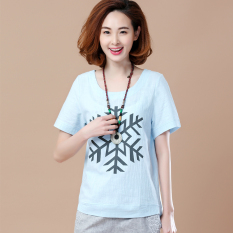 Kaos Korea Fashion Style Atasan Katun Katun Wanita (Model kepingan salju biru muda)