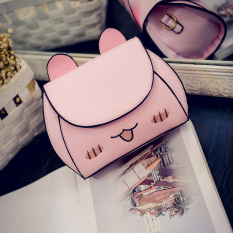 Korea Fashion Style lucu anak kucing tas bahu Messenger tas kecil tas wanita (Merah muda