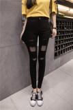 Beli Korea Perempuan Bagian Tipis Pinggang Celana Kaki Bottoming Celana 192 Empat Lubang Model Hitam Kredit Tiongkok