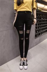 Beli Korea Perempuan Bagian Tipis Pinggang Celana Kaki Bottoming Celana 192 Empat Lubang Model Hitam Nyicil