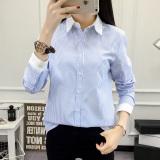 Jual Korea Perempuan Lengan Panjang Ol Bottoming Kemeja Katun Kemeja Biru Bergaris Biru Bergaris Baju Wanita Baju Atasan Kemeja Wanita Oem