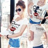 Jual Korea Perempuan Lengan Pendek Slim Tipis Kerah Rendah T Shirt Putih Oem Original