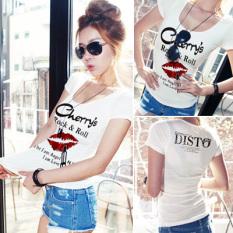 Review Tentang Korea Perempuan Lengan Pendek Slim Tipis Kerah Rendah T Shirt Putih