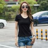 Harga Korea Perempuan Lengan Pendek V Neck Ketat Musim Panas Kemeja Putih Slim T Shirt Hitam Leher Bulat Murah