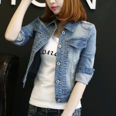 Beli Korea Fashion Style Perempuan Tujuh Poin Lengan Panjang Kemeja Jeket Jeans Cahaya Biru Lengan Panjang Terbaru