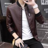Jual Musim Gugur Dan Musim Dingin Korea Fashion Style Poly Urethane Slim Jaket Pria Baju Kulit Kopi Warna Branded Murah