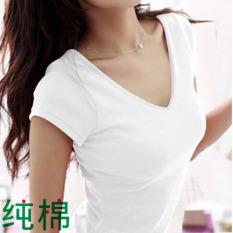 Korea Putih Polos Perempuan Lengan Pendek V-neck Kulot T-shirt (Hitam) OE427FAAAY4C8DANID-77344739