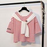 Katalog Korea Style Simple Summer T Shirt Woman Navy Wind Stripe Printed Scarf Sailor Collar Short Sleeves New Women S Casual Tops Tees Intl Terbaru