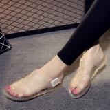 Harga Korea Transparan Datar Siswa Tergelincir Sandal Sepatu Jelly Transparan Perak Other Terbaik