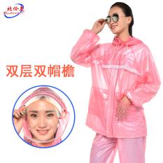 Korea Utara Amerika Transparan Dewasa Pria atau Wanita Jas Hujan Celana Hujan (Merah Muda Titik-Titik Bulat Lapisan ganda Ganda Pinggiran Topi)