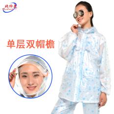 Korea Utara Amerika Transparan Dewasa Pria atau Wanita Jas Hujan Celana Hujan (Warna Dasar Putih Biru Kepingan Salju Lapisan tunggal Ganda Pinggiran Topi)