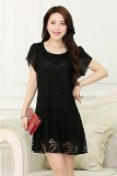Ulasan Mengenai Korea X Large Pure Color Fashion Renda Lengan Pendek Gaun Black Intl