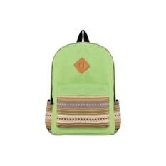 Korea Fashion Casual Cetak Canvas Backpack School Casing untuk Remaja Hijau (EKSPOR) (Intl)-Intl