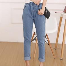 Jual Fashion Korea Elastis Ikat Pants Jeans Wanita Celana Hpt015 Biru Muda Termurah