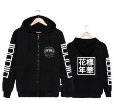 Korea Fashion KPOP BTS Bangtan Boys Young Forever Album Cotton Hooded Sweatshirts K-POP Zip-up Zipper Hoodies Hitam- INTL