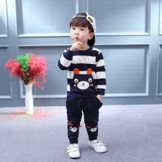 Korea Fashion Little Bear 2 Pcs/set Musim Semi dan Musim Gugur Dua Potong Setelan Anak-anak Lengan Panjang Fleece Long Celana 1-4 Tahun Bayi Laki-laki Lengan Panjang Baju Lapis (Navy Biru) -Intl