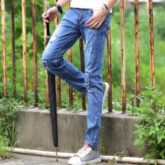 Toko Korean Fashion Men Patch Jeans Slim Fashion Jeans Leisure Long Pants Loose Teens Street Trousers Intl Lengkap Di Tiongkok