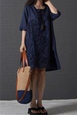 Jual Musim Panas Fashion Wanita Korea Setengah Leher O Linen Longgar Lengan Baju Gaun Kasual Hds015 Seperti Biru Tua Internasional Not Specified Ori