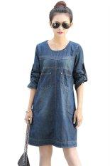 Spesifikasi Vintage Fashion Korea Wanita Kasual Gaun Jean Hds044 Biru Baru