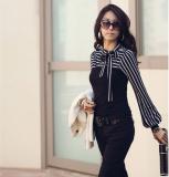 Promo Fashion Korea Wanita Langsing Wanita Was Wearing T Shirt Panjang Kepulan Leher Lengan Garis Puncak Baju Polo Black Not Specified