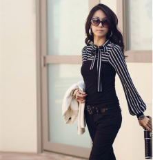 Harga Fashion Korea Wanita Langsing Wanita Was Wearing T Shirt Panjang Kepulan Leher Lengan Garis Puncak Baju Polo Black Not Specified Terbaik