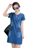Toko Fashion Korea Perempuan Lengan Bang Pendek Jean Gaun Kasual Hds047 Tiongkok