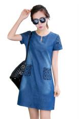 Jual Fashion Korea Perempuan Lengan Bang Pendek Jean Gaun Kasual Hds047 Antik