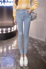 Korea Fashion Wanita Kasual jeans Robek Tinggi Pinggang Elastis Skinny Denim Celana Pensil dengan Lubang Hpt053 Biru Muda-Internasional