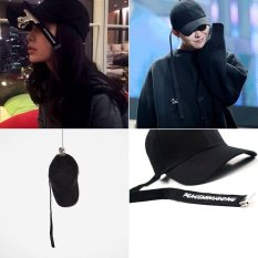 Korea GD The Same Paragraph dasi sabuk hitam crooked topi bisbol (Hitam)