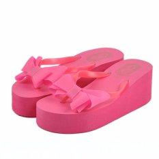 Perbandingan Harga Korea Tinggi Tumit Wedges Klip Jari Kaki Butterfly Sandal Platform Anti Slip Magenta Intl Di Tiongkok