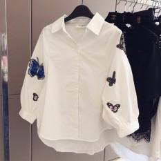 Korea Panjang Kasual Wanita Puff Lengan Blus Floral Kupu-kupu Bordir Kemeja Putih Longgar Seamless Polo-Neck Top Suit dengan Tombol untuk Wanita Kantor Bisnis Pakaian Resmi Undershirt-Intl