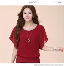 Korea Ukuran Besar Wanita Kelelawar Lengan Sifon Kaus Loose Kaus-Internasional
