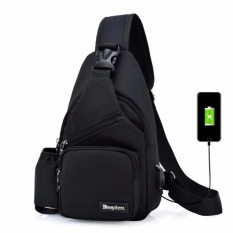 Korea Leisure Outdoor Sprot Sling Bag Shoulder Backpack Casual Cross Body Bag Outdoor Sling Backpack USB Charge Chest Bags (hitam)