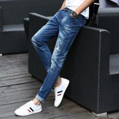 Spesifikasi Korea Fashion Jeans Pria Celana Jeans Lusuh And Ramping Lurus Longgar Santai Celana Panjang Remaja Celana Street Internasional Baru