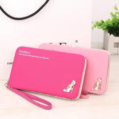 Beli Korean Multi Function Long Wallets Mobile Phone Bag Women Wallet Rose Red Intl Cicilan