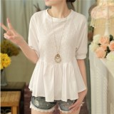 Korean Style Chiffon Female Pullover Top Short Sleeved Shirt Putih Di Tiongkok