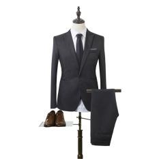Korea Gaya Pria Bisnis Suits Set Formal Suit & Pants Mens Ramping Fit Suit dan Suit Pants Casual Satu Tombol Jas dan Celana-Intl