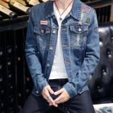 Toko Gaya Korea Jaket Denim Kemeja Denim Jaket Pemuda Pria Lubang Terlengkap Tiongkok