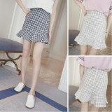 Spek Gaya Korea Musim Panas Plaid Slim Fishtail Rok Mini Intl Tiongkok