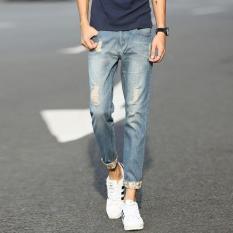 A Korea Vintage Pria Denim Celana Pensil Pria Casual jeans Robek Hpt060-Intl