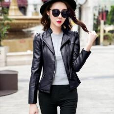 Gaya Korea Wanita Paragraf Pendek Lokomotif Kulit Mantel Wanita Slim Fit Zipper Lengan Panjang Jaket Kulit Ladies Model Blazer -hitam-Intl
