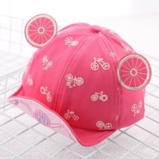 Korean version of the influx of spring and summer fashion wild cartoon images children bumao sun visor cap for men and women baby princess (Reference age 8-20 months + About 46-50 cm + Rose red) - intl
