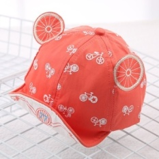 Korean version of the influx of spring and summer fashion wild cartoon images children bumao sun visor cap for men and women baby princess (Reference age 8-20 months + About 46-50 cm + Watermelon red) - intl
