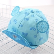 Korean version of the influx of spring and summer fashion wildcartoon images children bumao sun visor cap for men and women babyprincess (Reference age 8-20 months + About 46-50 cm + Lake blue) - intl