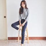 Beli Korea Versi Baru Kecil Bersantai Segar Kerah Kemeja Bergaris Lengan Bordir Slim Slim Blus Grey Intl Online