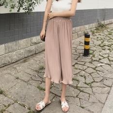 Versi Korea dari Berlipat Kain Sutera Tipis Celana Kaki Yang Lebar Wanita Musim Panas Tipis Bagian Longgar Tinggi Pinggang Apakah Tipis Tujuh Poin Celana Telinga Kayu Fold Rok Celana Khaki-Intl