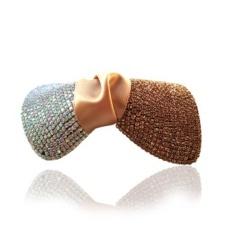 Terbaru Tahun Putri Cantik Indah Penuh Diamond Bertatahkan Bow Spring Clip Ponytail Clip Hairpin Side Folder (5 # Putih + Champagne Warna) -Intl