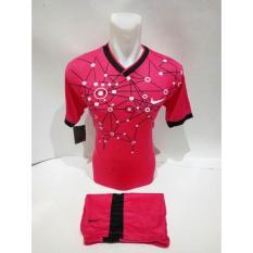 Kostum Kaos Sepakbola Futsal Volly Takraw Bahan Dryfit M L XL Biru Pink Merah Plus Celana Pendek D10.35
